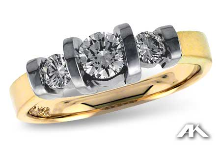 Three Stone Bar-Set Diamond Ring - Special Order Only
