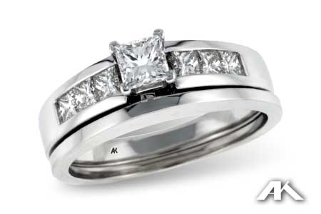 Princess Cut Diamond Ring with Channel Accents