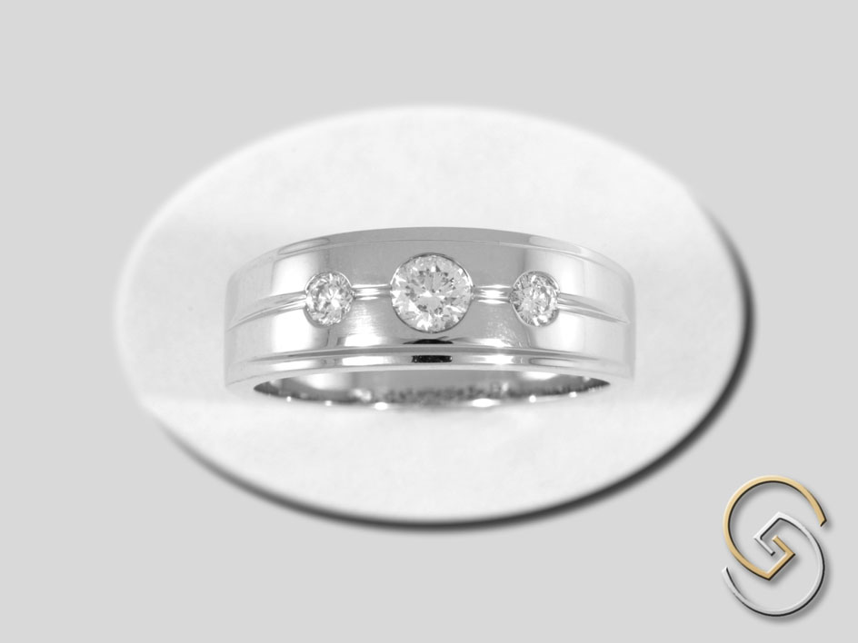 Three Stone Tapered Ring