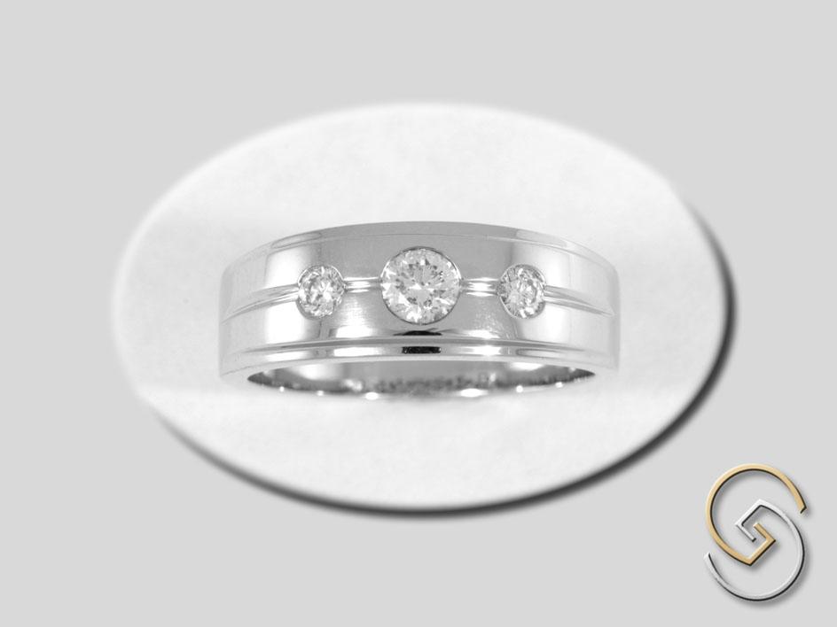 Three Stone Tapered Ring