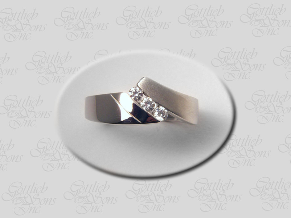 Three Stone Satin & Polished Ring