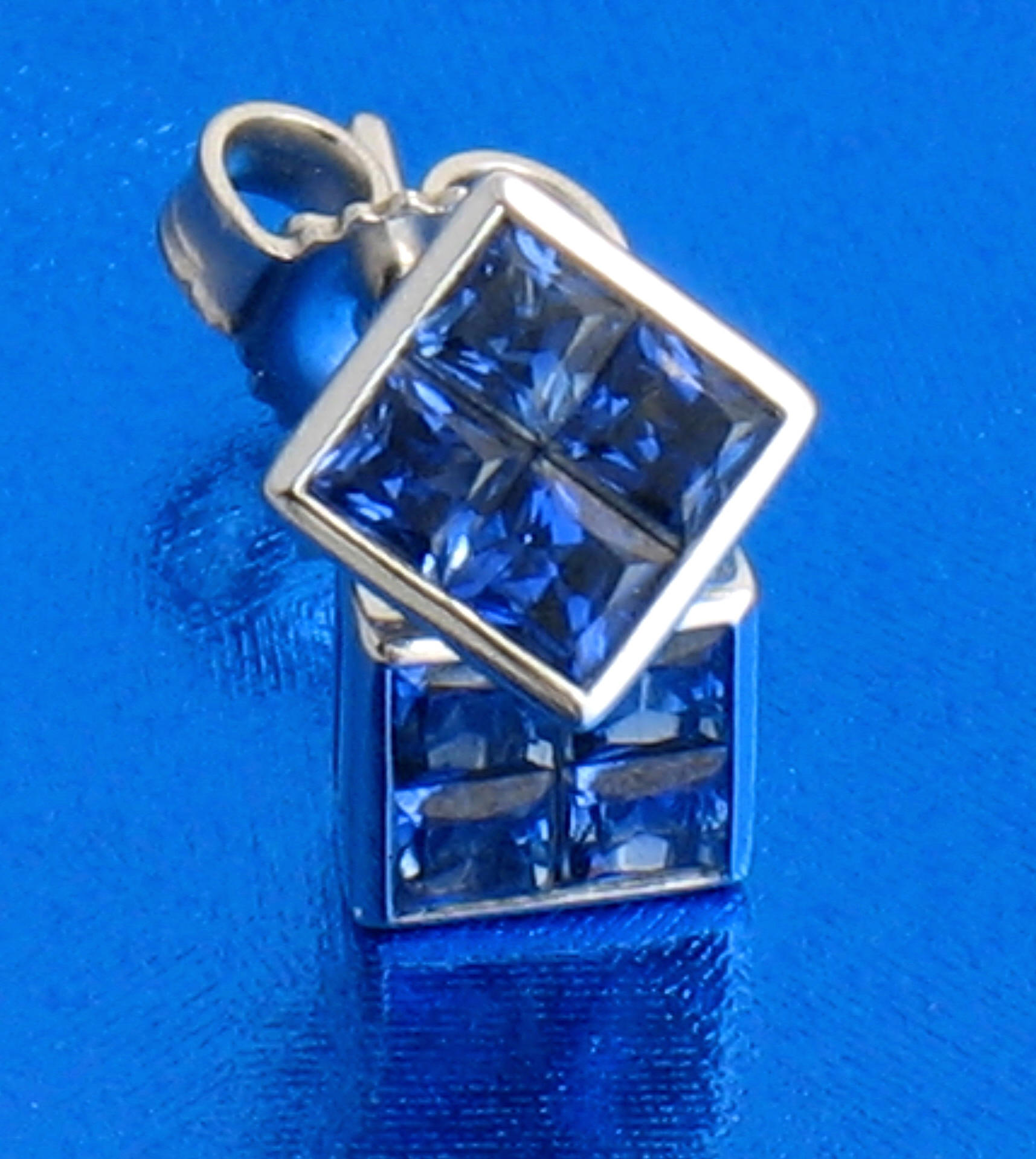 Quilt-style Sapphire Post Earrings