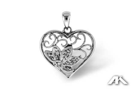 Heart & Flower Diamond Pendant - Special Order Only