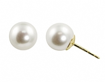 White Pearl Post Earrings 8mm