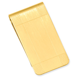 Money Clip Satin Patterned, Gold Plated