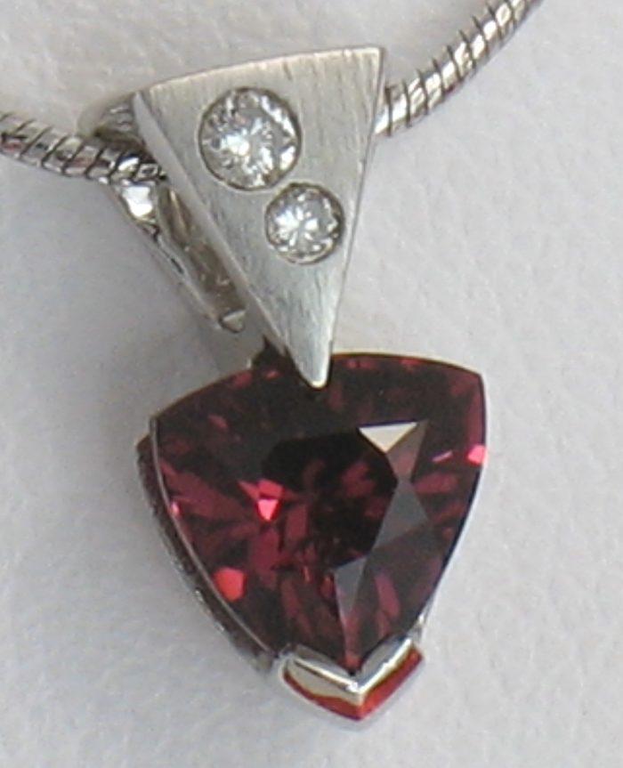 Trillion Garnet with Diamond Bail