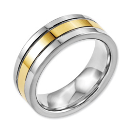 Gold Groove Tungsten Ring