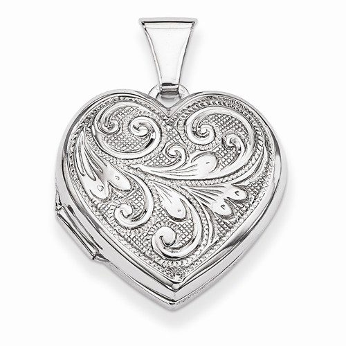 Scrolling Heart Locket with Engraving