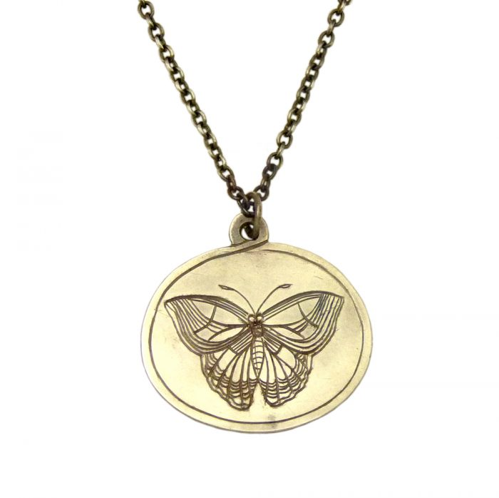 Butterfly Engraved Pendant by Jessica Scofield