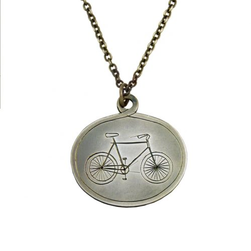 Bike Engraved Pendant by Jessica Scofield