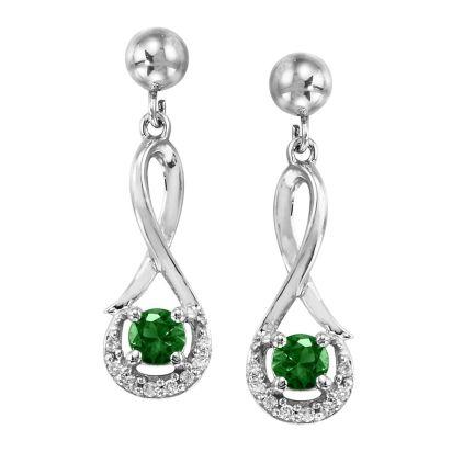 Emerald Halo Infinity Earrings