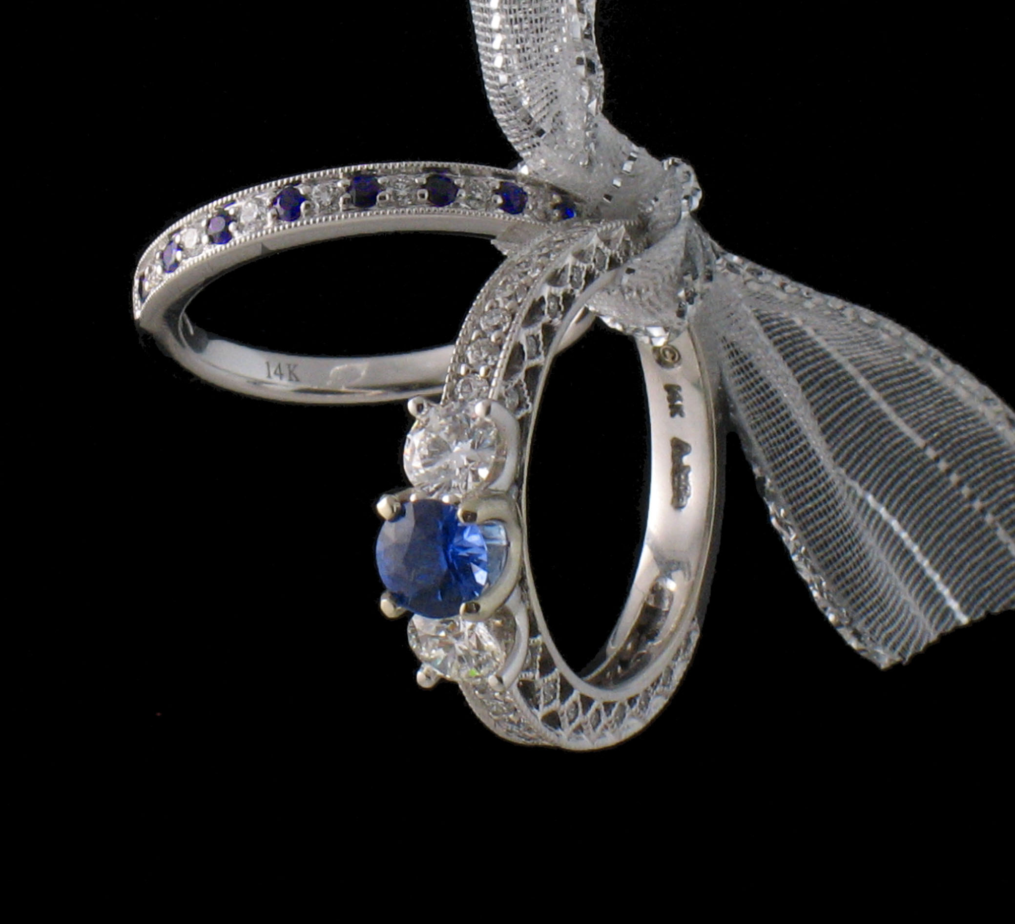 Sapphire Three Stone Vintage Style Ring