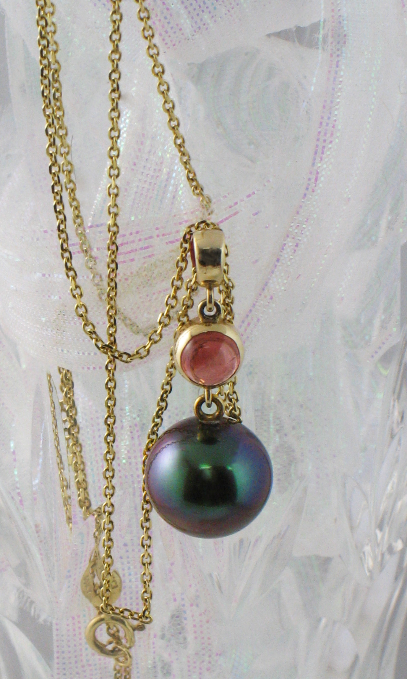 Tahitian Pearl Pendant with Tourmaline Accent