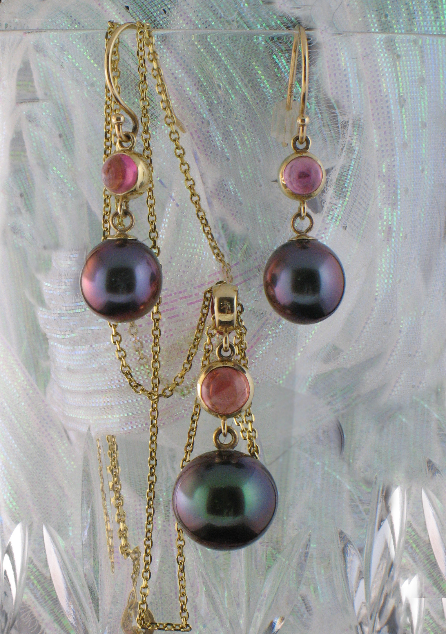 Tahitian Pearl Earrings with Tourmaline Accent